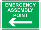 Emergency assembly point, arrow left sign