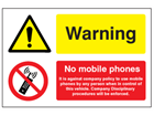 Warning, No mobile phones safety sign.