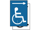 Disabled wheelchair symbol, arrow right sign.