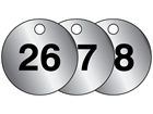 Aluminium valve tags, numbered 26-50
