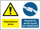 COSHH. Hazardous area, Permit to work must be obtained sign.