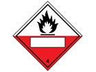 Spontaneously combustible, class 4, hazard diamond label (with write on panel)