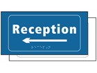 Reception, arrow left sign.
