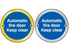Automatic fire door keep clear symbol door sign.