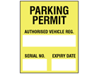 Parking permit label, yellow background