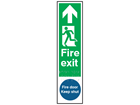 Fire exit, running man left, arrow ahead. Fire door keep shut sign.