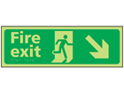 Fire exit arrow down right photoluminescent sign.