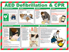 AED defibrillation and CPR guide.