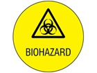 Biohazard symbol and text safety label.