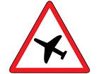 Low flying aircraft, sudden aircraft noise sign