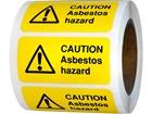 Caution asbestos hazard safety label.