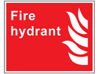 Fire hydrant symbol and text sign