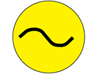 Alternating current symbol label.