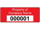 Assetmark tamper evident serial number label (text on colour), 19mm x 50mm