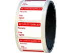 Return to supplier quality assurance label