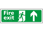 Fire exit, running man, arrow up sign.