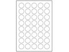 White polyester laser labels, 30mm diameter