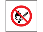 No naked flames symbol safety sign.