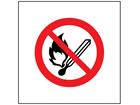 No naked flames symbol safety sign.