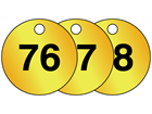 Brass valve tags, numbered 76-100