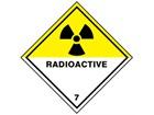 Radioactive, class 7, hazard warning diamond label, magnetic