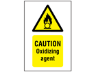 Caution oxidizing agent symbol and text safety sign.