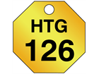 Custom octagonal brass valve tag black lettering
