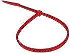 Serial numbered nylon cable ties, red