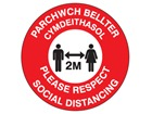Please respect social distancing, 2 metres (bilingual Welsh/English)