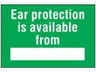 Ear protection is available from symbol and text safety sign.