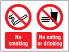 No smoking, no eating or drinking symbol and text safety sign.