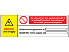 Warning dual supply wind turbine hazard label