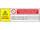 Warning dual supply wind turbine hazard label