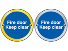 Fire door keep clear symbol door sign.