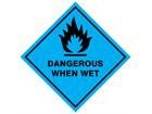Dangerous when wet hazard warning diamond sign