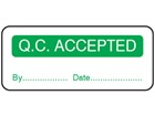 Q.C. Accepted label.