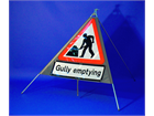 Men at work, gully emptying roll up road sign