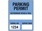 Parking permit label, blue background, serial number