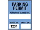 Parking permit label, blue background, serial number