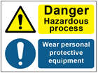 COSHH. Danger hazardous process, wear personal protective equipment sign.