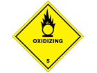Oxidizing, class 5, hazard diamond label