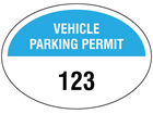 Vehicle parking permit label, serial numbered