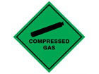 Compressed gas hazard warning diamond sign
