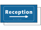 Reception, arrow right sign.