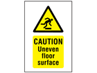 Caution Uneven floor surface symbol and text safety sign.