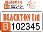 Assetmark destructible serial number label (logo / full design), 12mm x 25mm