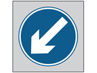 Keep left roll up road sign