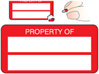Property asset label, not numbered, destructible