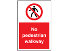 No pedestrian walkway symbol and text sign
