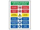 Hysbysiad diogelwch, Site safety notice. Welsh English sign.